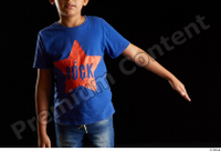 Timbo  1 arm blue t shirt dressed flexing front view 0004.jpg