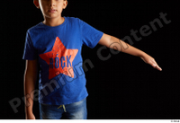 Timbo  1 arm blue t shirt dressed flexing front view 0005.jpg