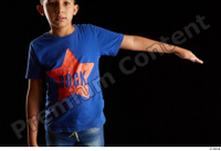 Timbo  1 arm blue t shirt dressed flexing front view 0006.jpg
