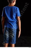 Timbo  1 arm back view blue t shirt dressed flexing 0001.jpg