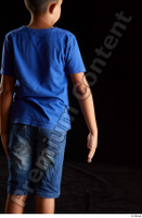 Timbo  1 arm back view blue t shirt dressed flexing 0002.jpg