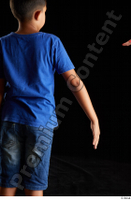 Timbo  1 arm back view blue t shirt dressed flexing 0003.jpg