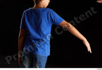 Timbo  1 arm back view blue t shirt dressed flexing 0005.jpg