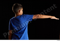 Timbo  1 arm back view blue t shirt dressed flexing 0007.jpg