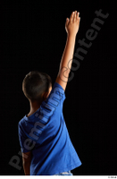 Timbo  1 arm back view blue t shirt dressed flexing 0011.jpg