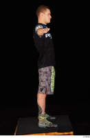 Max Dior black t shirt boxing shoes dressed grey shorts standing t poses whole body 0007.jpg