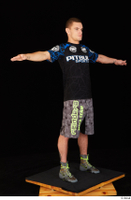 Max Dior black t shirt boxing shoes dressed grey shorts standing t poses whole body 0008.jpg