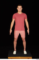 Max Dior casual dressed red shorts red t shirt standing white loafers whole body 0001.jpg