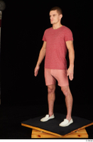 Max Dior casual dressed red shorts red t shirt standing white loafers whole body 0002.jpg