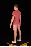 Max Dior casual dressed red shorts red t shirt standing white loafers whole body 0004.jpg