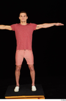 Max Dior casual dressed red shorts red t shirt standing t poses white loafers whole body 0001.jpg