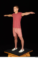 Max Dior casual dressed red shorts red t shirt standing t poses white loafers whole body 0002.jpg