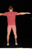 Max Dior casual dressed red shorts red t shirt standing t poses white loafers whole body 0005.jpg