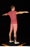 Max Dior casual dressed red shorts red t shirt standing t poses white loafers whole body 0006.jpg