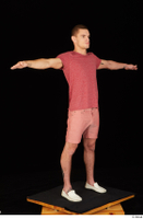 Max Dior casual dressed red shorts red t shirt standing t poses white loafers whole body 0008.jpg