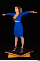 Daisy Lee black high heels blue dress casual dressed standing t poses whole body 0002.jpg