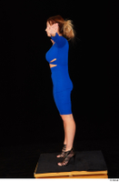 Daisy Lee black high heels blue dress casual dressed standing t poses whole body 0003.jpg