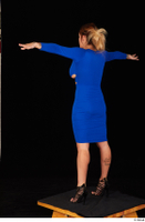Daisy Lee black high heels blue dress casual dressed standing t poses whole body 0004.jpg