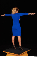 Daisy Lee black high heels blue dress casual dressed standing t poses whole body 0006.jpg