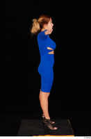 Daisy Lee black high heels blue dress casual dressed standing t poses whole body 0007.jpg