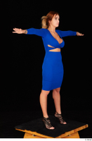 Daisy Lee black high heels blue dress casual dressed standing t poses whole body 0008.jpg