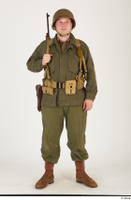 U.S.Army uniform World War II. - Technical Corporal - poses american soldier standing uniform whole body 0001.jpg