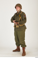 U.S.Army uniform World War II. - Technical Corporal - poses american soldier standing uniform whole body 0010.jpg