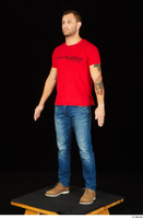 Anatoly blue jeans brown shoes dressed red t shirt standing whole body 0002.jpg