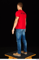 Anatoly blue jeans brown shoes dressed red t shirt standing whole body 0004.jpg