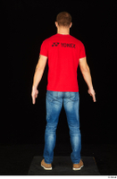 Anatoly blue jeans brown shoes dressed red t shirt standing whole body 0005.jpg