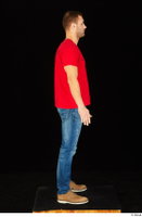 Anatoly blue jeans brown shoes dressed red t shirt standing whole body 0007.jpg