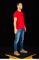 Anatoly blue jeans brown shoes dressed red t shirt standing whole body 0008.jpg