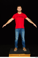 Anatoly blue jeans brown shoes dressed red t shirt standing whole body 0009.jpg