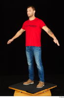 Anatoly blue jeans brown shoes dressed red t shirt standing whole body 0010.jpg