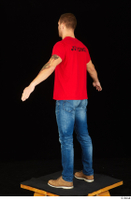 Anatoly blue jeans brown shoes dressed red t shirt standing whole body 0012.jpg
