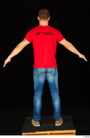 Anatoly blue jeans brown shoes dressed red t shirt standing whole body 0013.jpg