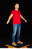 Anatoly blue jeans brown shoes dressed red t shirt standing whole body 0016.jpg