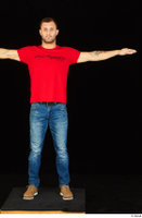 Anatoly blue jeans brown shoes dressed red t shirt standing t poses whole body 0001.jpg
