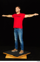 Anatoly blue jeans brown shoes dressed red t shirt standing t poses whole body 0002.jpg