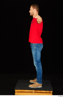 Anatoly blue jeans brown shoes dressed red t shirt standing t poses whole body 0003.jpg