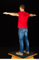 Anatoly blue jeans brown shoes dressed red t shirt standing t poses whole body 0004.jpg