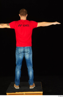 Anatoly blue jeans brown shoes dressed red t shirt standing t poses whole body 0005.jpg