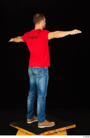 Anatoly blue jeans brown shoes dressed red t shirt standing t poses whole body 0006.jpg