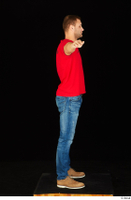 Anatoly blue jeans brown shoes dressed red t shirt standing t poses whole body 0007.jpg