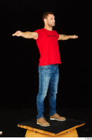 Anatoly blue jeans brown shoes dressed red t shirt standing t poses whole body 0008.jpg