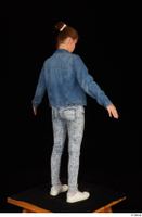 Isla blue jeans casual dressed jeans jacket pink t shirt standing white sneakers whole body 0014.jpg