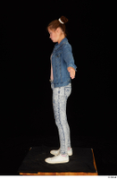Isla blue jeans casual dressed jeans jacket pink t shirt standing t poses white sneakers whole body 0003.jpg