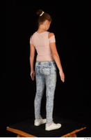 Isla blue jeans casual dressed pink t shirt standing white sneakers whole body 0006.jpg