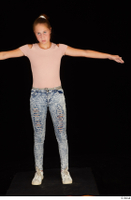 Isla blue jeans casual dressed pink t shirt standing t poses white sneakers whole body 0001.jpg