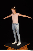 Isla blue jeans casual dressed pink t shirt standing t poses white sneakers whole body 0002.jpg